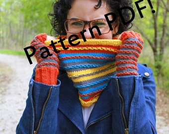 Surplus Stripes Cowl/Mittens/Fingerless Mitts