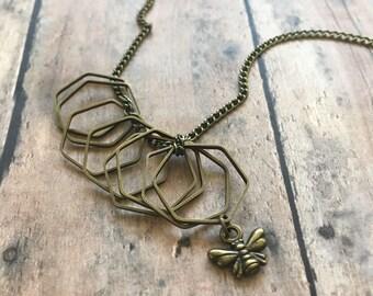 Hexagon & Honeybee Stitch Marker Necklace