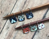 Cat knitting stitch markers - set of 6 for your knit project bag