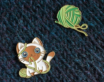 Enamel Pins - Yarn Ball & Kitten