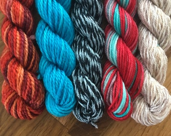 Harry & Cho Mini Sock Yarn Skeins - 25 yds each - set of hand dyed miniskeins for your beekeepers quilt
