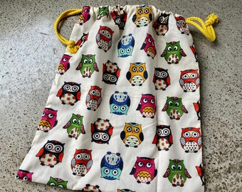 Owls Drawstring Project Bag for your knitting/crochet/hexipuffs