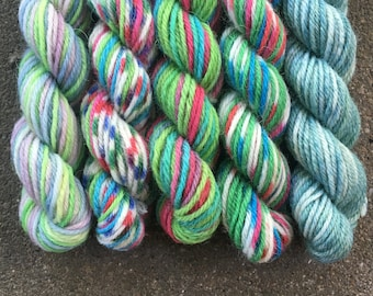 Mint Humbug Mini Sock Yarn Skeins - 25 yards each - Magical Miniskein Set