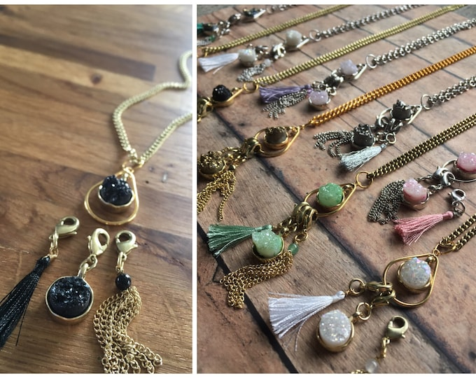 Featured listing image: Druzy Quartz Stitch Marker Necklace