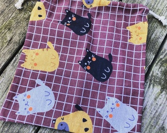 Cat Drawstring Project Bag for your knitting/crochet/hexipuffs