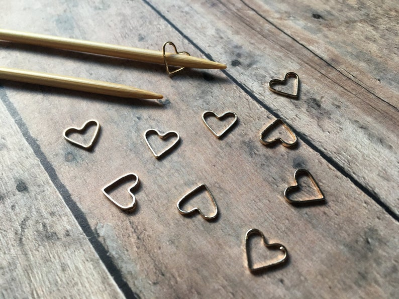 Bronze Stitch Markers  Set of 10 hearts for your knitting bag image 0