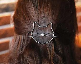 Silver & Pearl Cat Hairclip