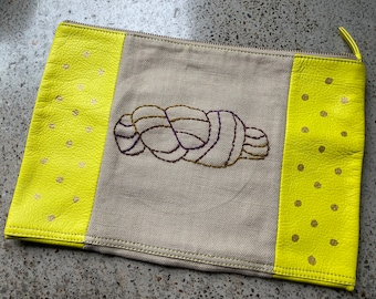 Hand embroidered zip bag - Yellow/Purple