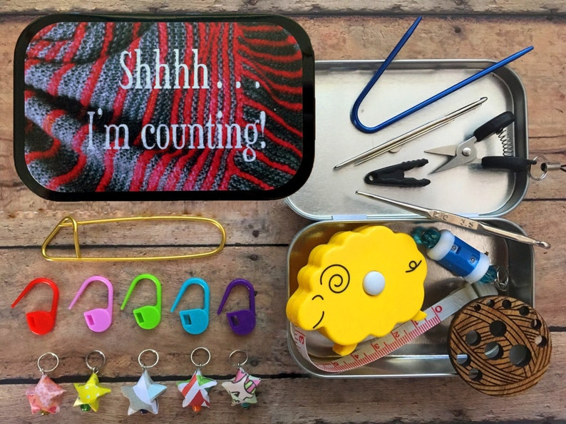 Shh I'm Counting: The Knitter's Tool Tin with notions image 0
