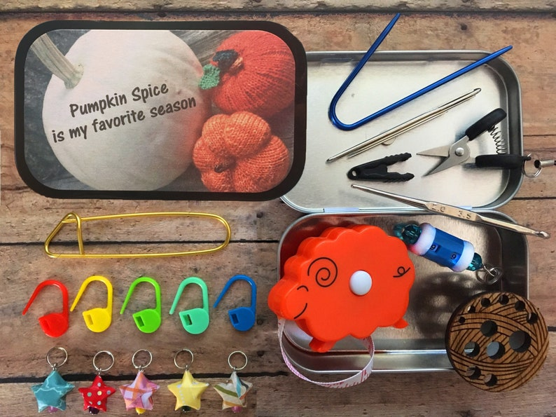 Pumpkin Spice: The Knitter's Tool Tin with travel/mini image 0