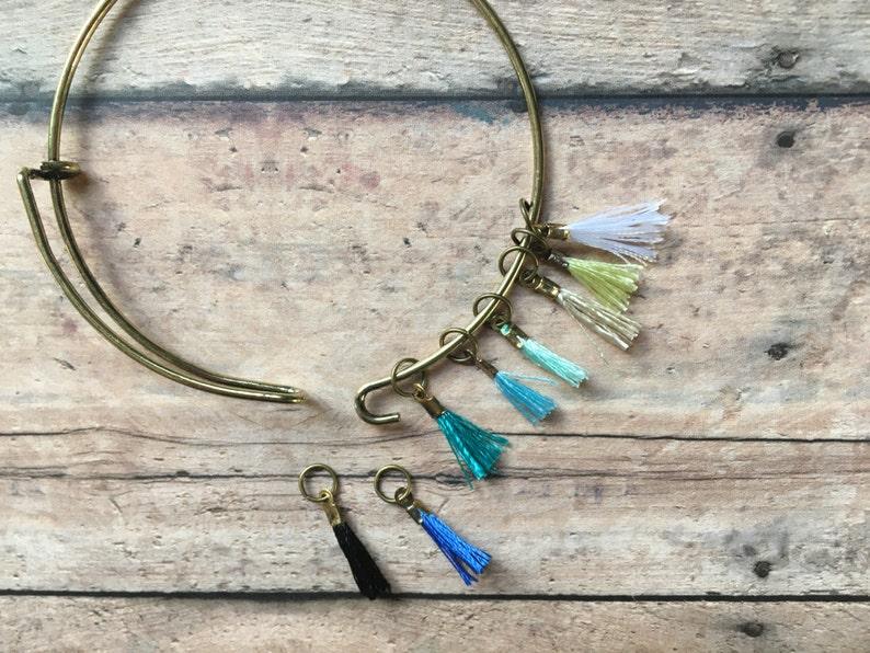 Stitch Marker Bracelet  set of 8 lightweight blue tassels image 0