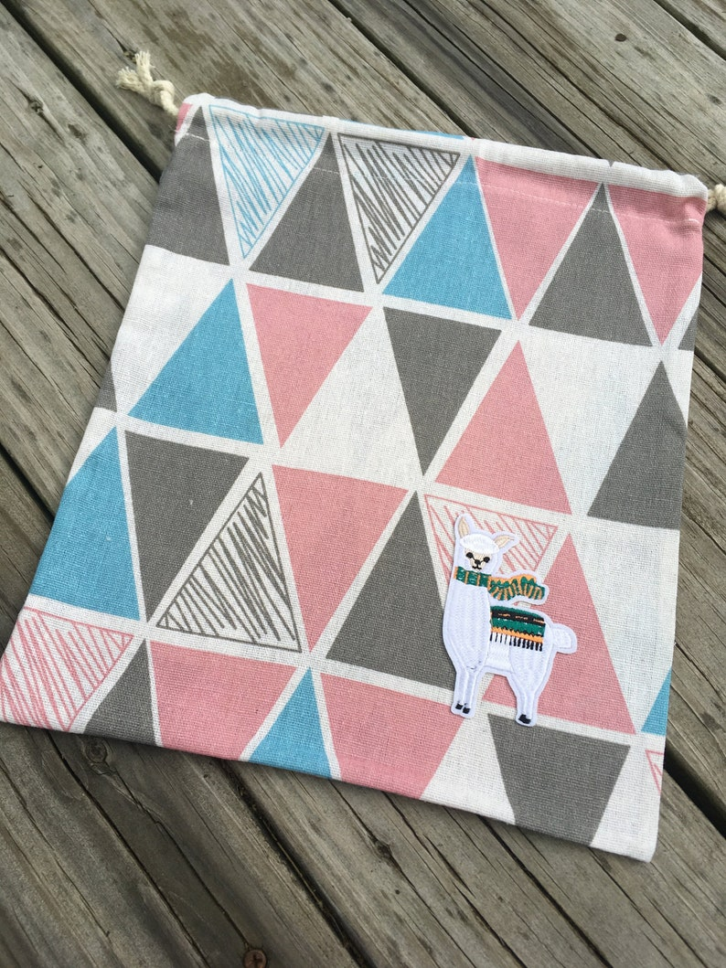 Geometric Alpaca Drawstring Project Bag for your image 0