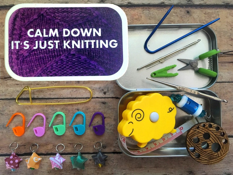 Knitter's Tool Tin  Calm Down it's just Knitting: image 0