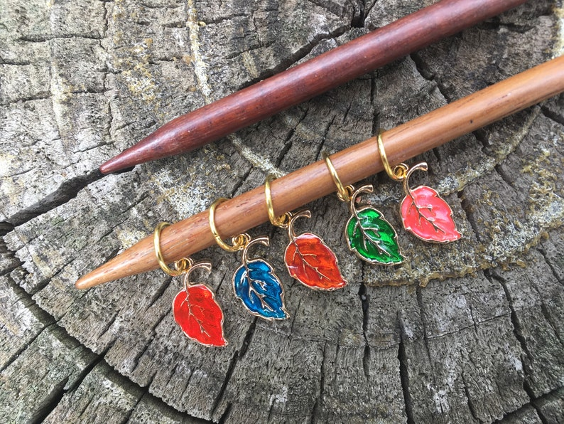 Fall Leaf Knit Stitch Markers  set of 5 for your knitting image 0