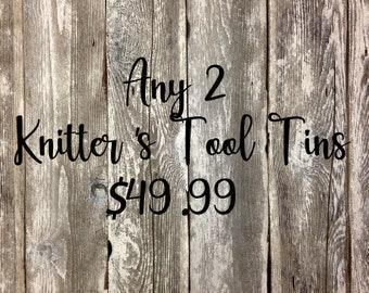 2 Standard Knitter's Tool Tins for 49.99