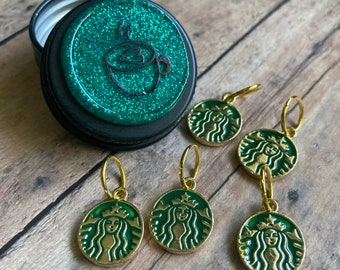 Starbucks Stitch Markers in a Coffee Tin
