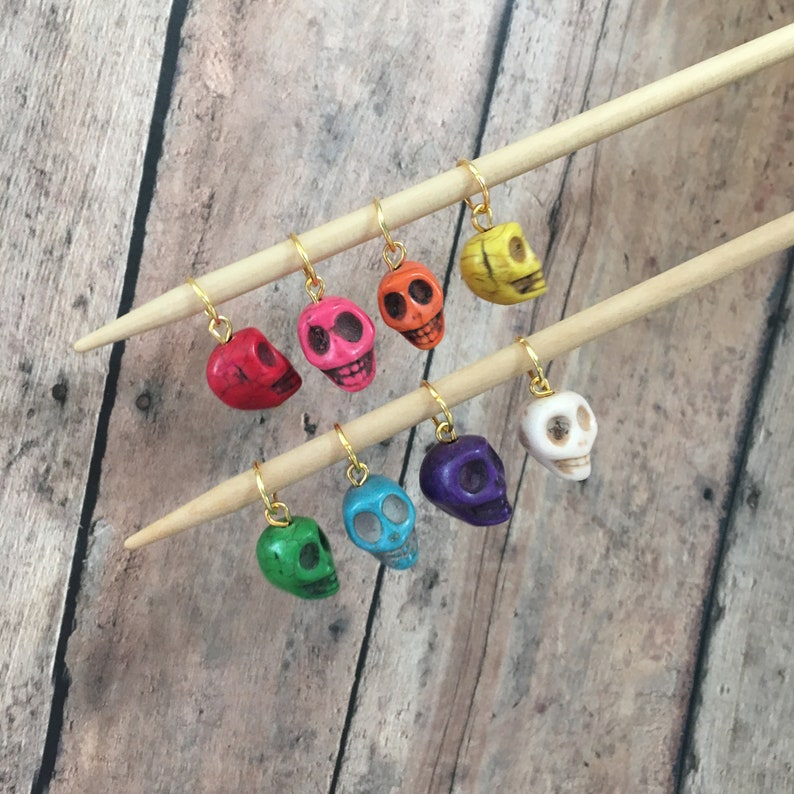 Colorful Skull Stitch Markers  Set of 8 for your knitting image 0