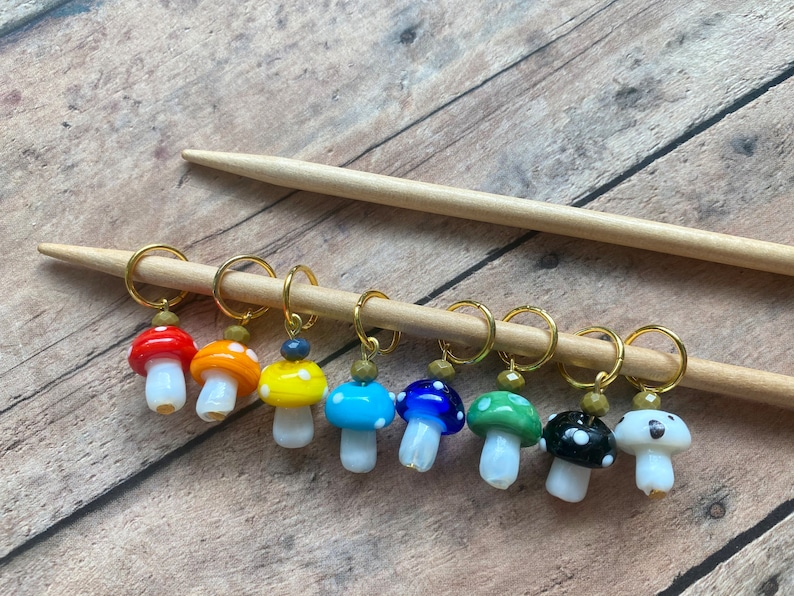 Spring Mushroom Stitch Markers for knitting set of 8 image 0