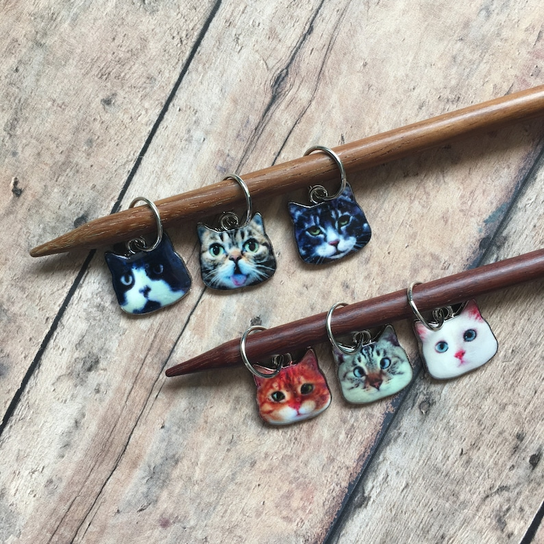 Cat knitting stitch markers  set of 6 for your knit project image 0