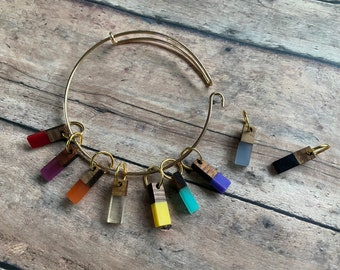 Stitch Marker Bracelet - set of 9 wood and resin knitting markers