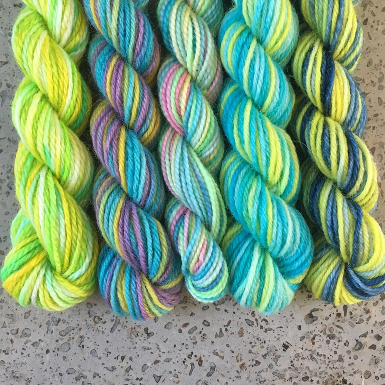 Magical Mini Sock Yarn Skeins  Ice Mice  Set of 5 for your image 0