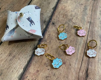 Happy Cloud Stitch Markers in Cat & Mouse Pouch