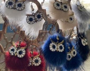 Fluffy Owl Earrings