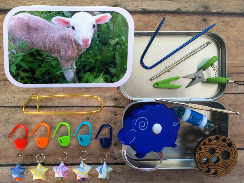 Lamb: The Knitter's Tool Tin with notions for your image 0