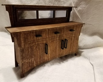 Arts and Crafts Craftsman Sideboard Buffet in 1 inch scale miniature