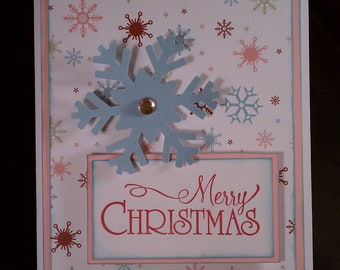Christmas in July! 50% off!  Merry Christmas Pink and Blue Snowflake Card set of 4