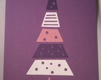 Lavender Die Cut Christmas Cards set of 4 Pink and Purple