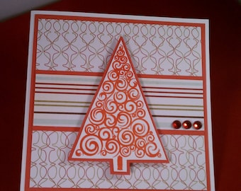 Christmas in July! 50% off! Merry Christmas Red Tree Stamped Card