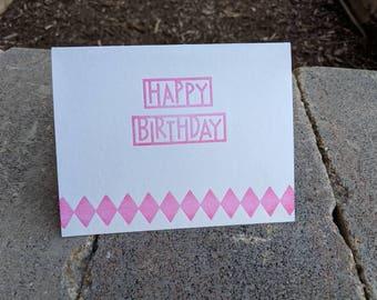 Pink Letterpress Birthday Card