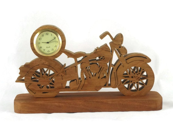 Vintage Style Motorcycle Mini Desk Clock Handmade From Cherry Wood By KevsKrafts BN-3