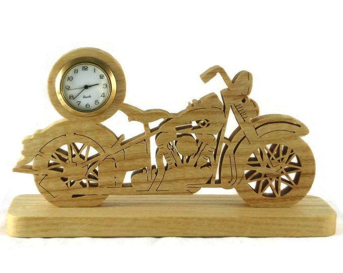 Vintage Style Motorcycle Mini Desk Clock Handmade From Ash Wood By KevsKrafts