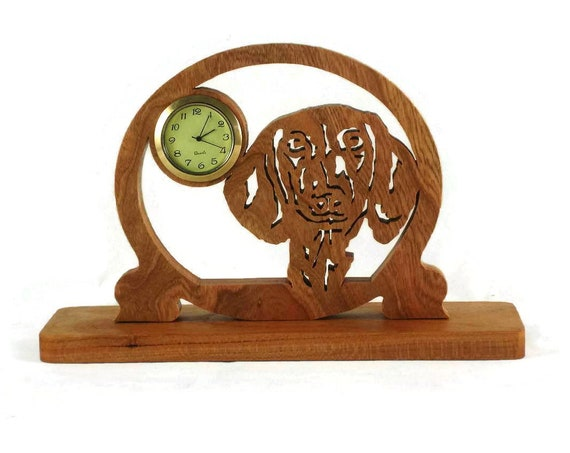 Dachshund Mini Desk Or Shelf Clock Handmade From Cherry Wood