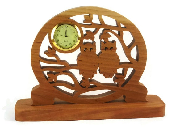 Owls In Tree Desk Clock Handmade From Cherry Wood By KevsKrafts Woodworking