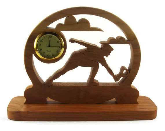 Tennis Player Desk Clock Handmade From Cherry Wood By KevsKrafts, Badmitten, Racketball