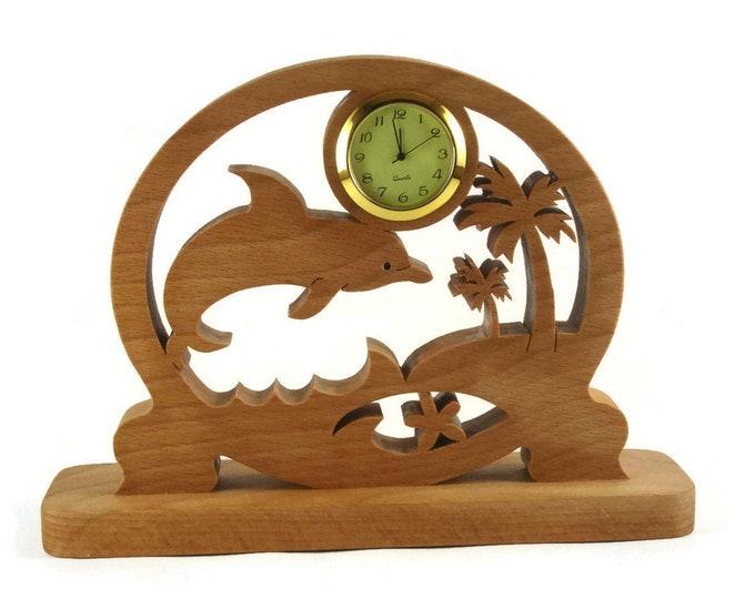 Dolphin Scene Desk Or Shelf Clock Handmade From Beech Wood By KevsKrafts