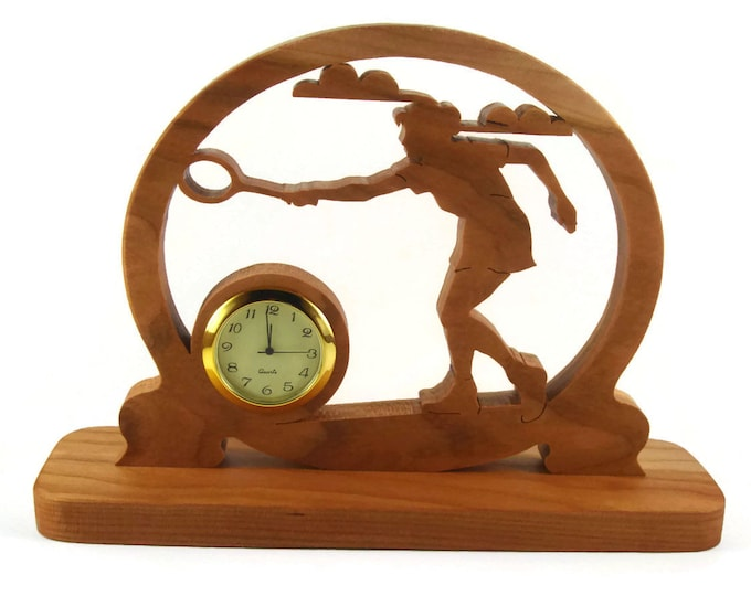 Badminton Desk Clock Handmade From Cherry Wood By KevsKrafts, Tennis, Racquetball, Racketball
