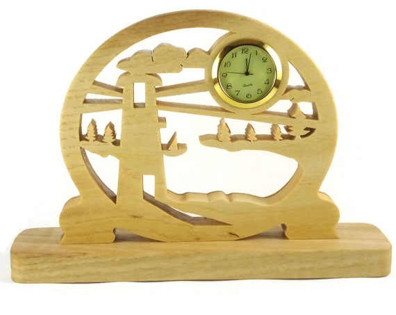 Lighthouse Scene Desk Clock Or Shelf Clock Handmade from Ash Wood By KevsKrafts