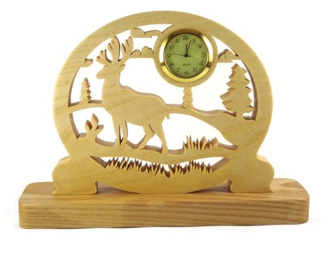 Elk Scene Desk Or Shelf Clock Handmade From Ash Or Cherry Wood By KevsKrafts BN-2