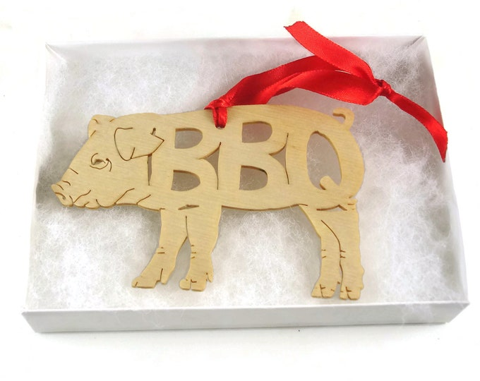 Barbecue BBQ Pig Christmas Ornament Handmade From Birch Wood By KevsKrafts BN-5-M1