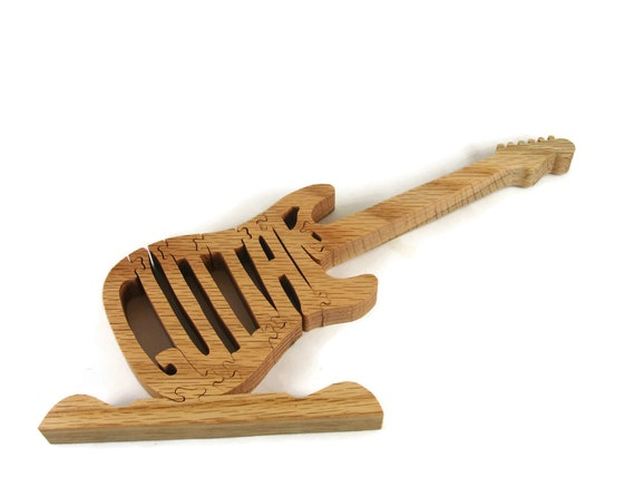 Wooden Guitar Jigsaw Puzzle Handcrafted From Oak Wood By KevsKrafts