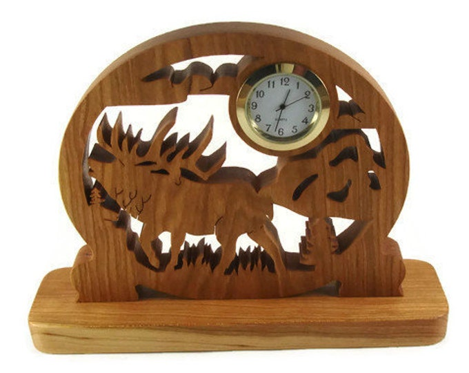 Moose Scene Desk Or Shelf Quartz Clock Handmade From Cherry Wood By KevsKrafts