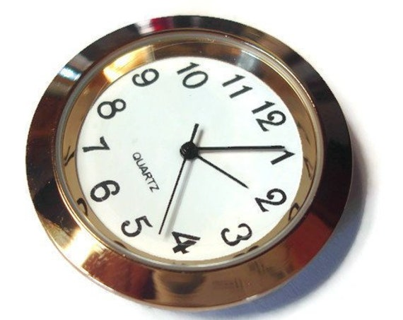 Quartz 36mm Clock Insert Fitup Gold Bezel Metal Case White Face Black Arabic Numbers