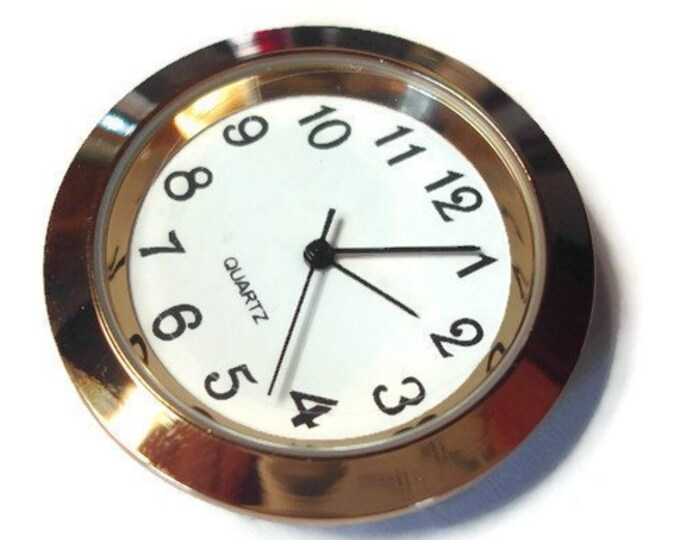 Quartz 36mm Clock Insert Fitup Gold Bezel Metal Case White Face Black Arabic Numbers