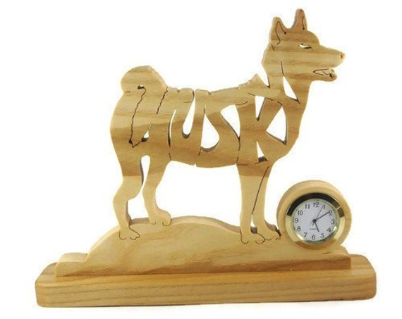 Husky Dog Desk Or Shelf Clock Handcrafted With A Scroll Saw From Ash Wood By KevsKrafts