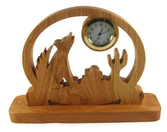 Coyote Scene Desk Or Shelf Quartz Clock Handmade From Cherry Wood By KevsKrafts