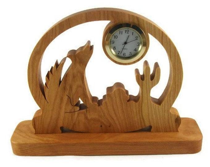 Coyote Scene Desk Or Shelf Quartz Clock Handmade From Cherry Wood By KevsKrafts